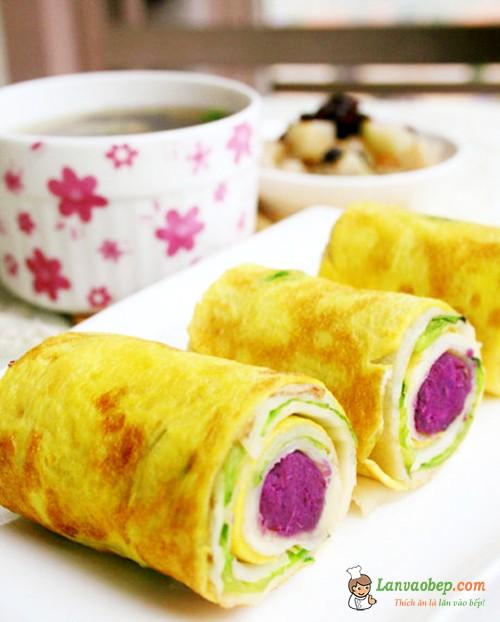 Lạ mắt, ngon miệng với món trứng cuộn khoai lang tím